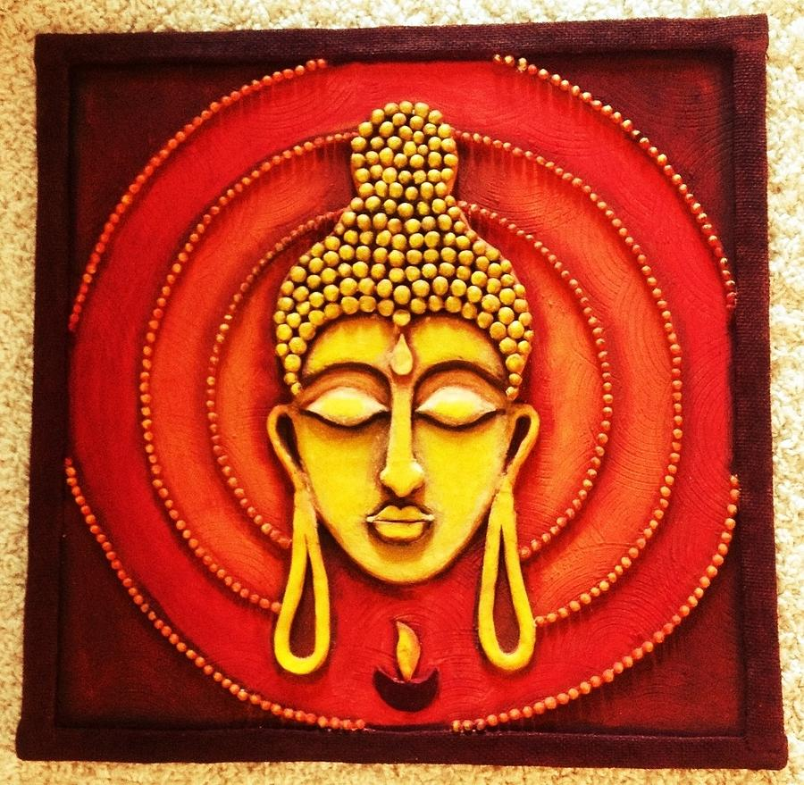 Buddha clay art painting by swati thakur for Buddha mural art