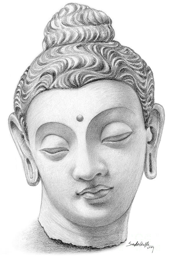 Buddha Face Line Drawing : Buddha face drawing by sudhakar chalke