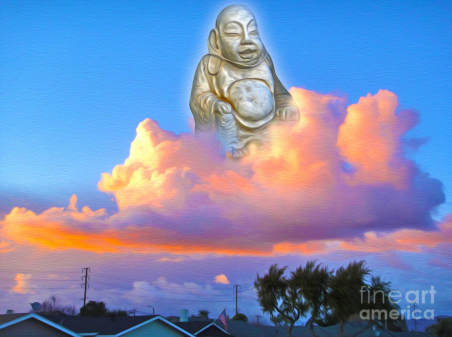 Buddha In The Clouds Of Suburbia Painting  - Buddha In The Clouds Of Suburbia Fine Art Print