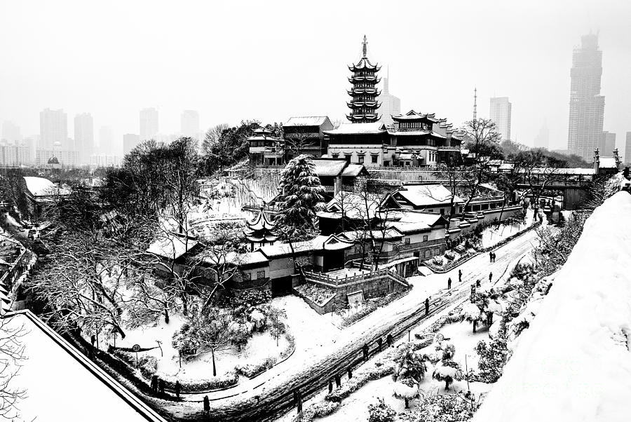 China Photograph - Buddha - Jiming Temple In The Snow - Black-and-white Version  by Dean Harte