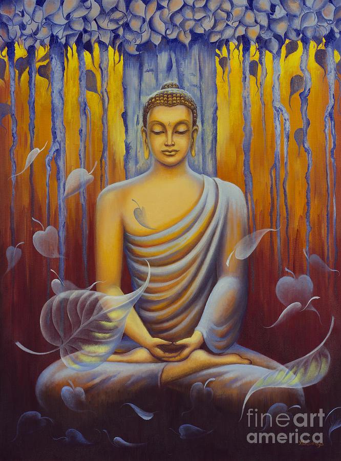 Buddha meditation painting by yuliya glavnaya for Buddha mural paintings