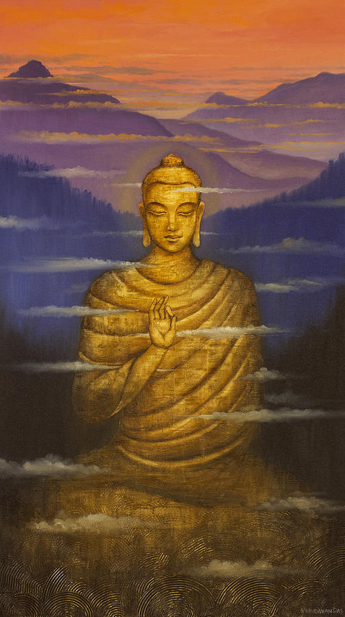 Buddha. Passing Clouds Painting  - Buddha. Passing Clouds Fine Art Print