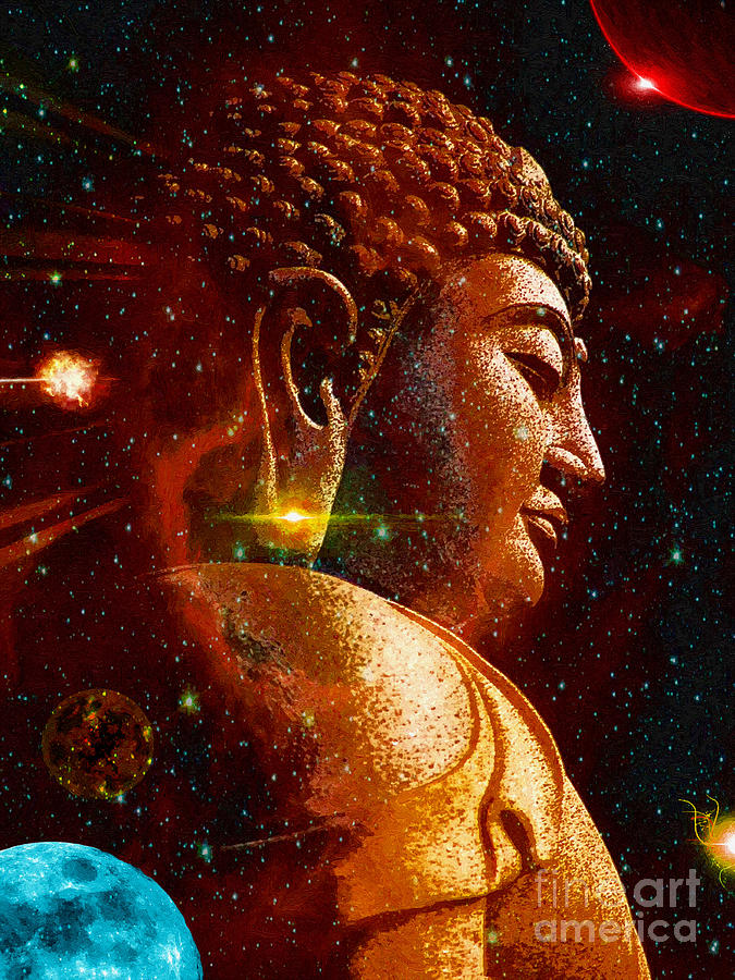 Buddha Planets Digital Art