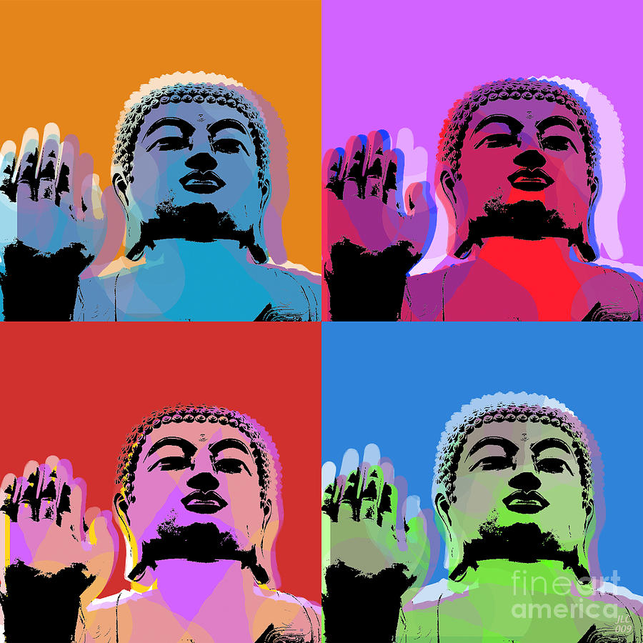 Buddha Pop Art - 4 Panels Digital Art  - Buddha Pop Art - 4 Panels Fine Art Print