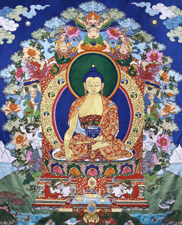 Buddha Tapestry - Textile - Buddha Shakyamuni And The Six Supports by Leslie Rinchen-Wongmo