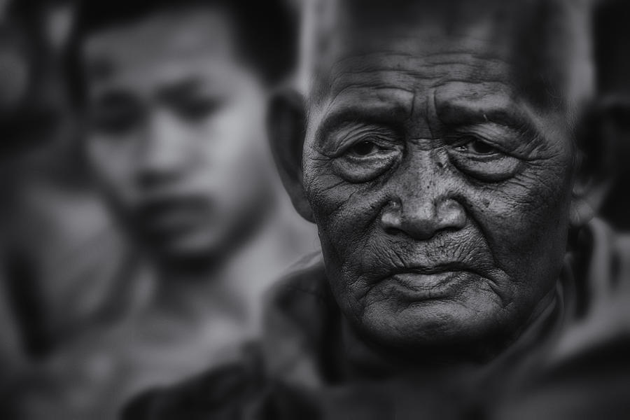 Buddhist Monk Bw1 Photograph