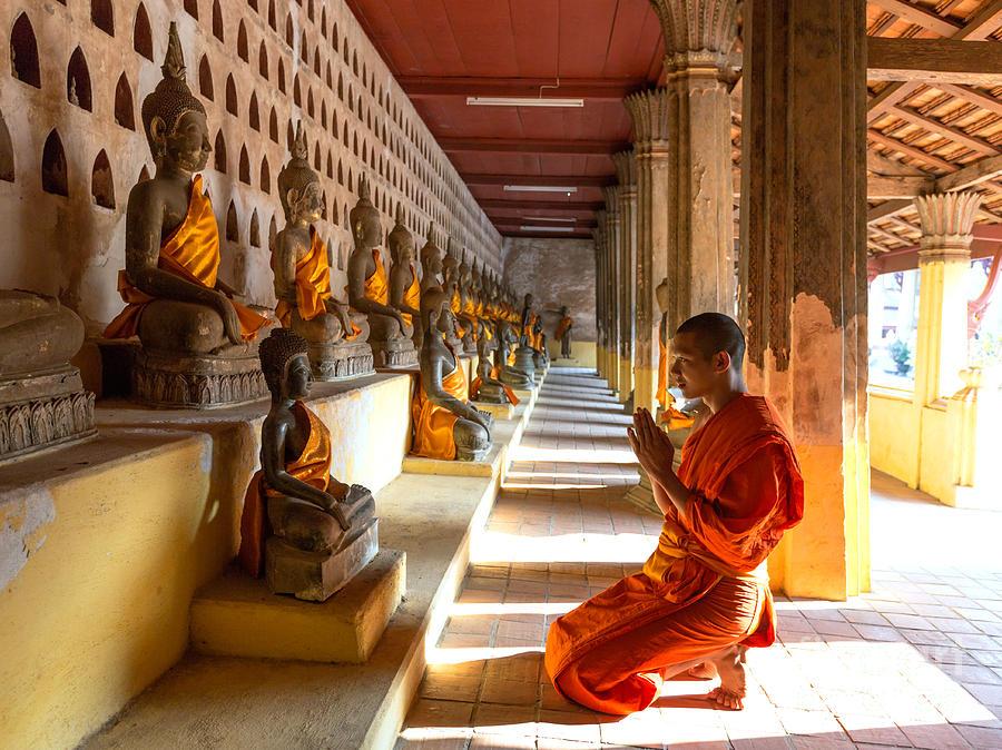 Buddhist Monk Praying - Wat Sisaket Temple - Vientiane ...