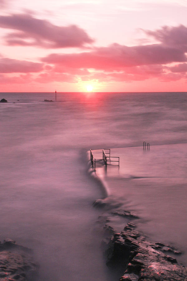Bude Sea Pool Sunset Photograph  - Bude Sea Pool Sunset Fine Art Print