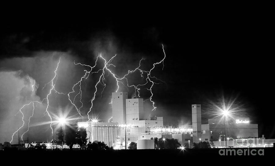 Budweiser Lightning Thunderstorm Moving Out Bw Pano Photograph  - Budweiser Lightning Thunderstorm Moving Out Bw Pano Fine Art Print