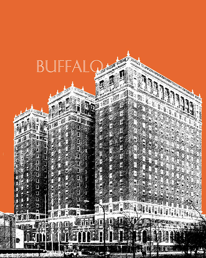Buffalo New York Skyline 2 Digital Art  - Buffalo New York Skyline 2 Fine Art Print