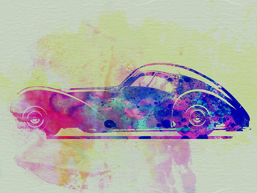 Bugatti Atlantic Watercolor 3 Painting  - Bugatti Atlantic Watercolor 3 Fine Art Print