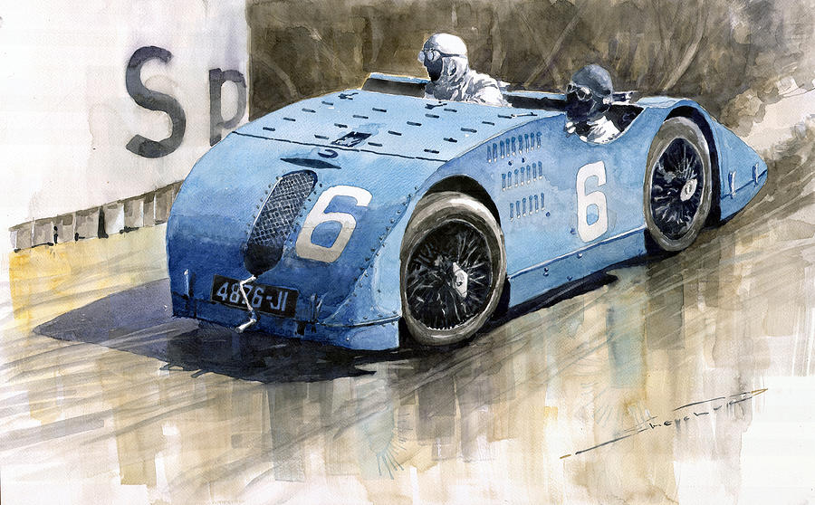 Bugatti Type 32 Tank 1923 French Gp  Painting  - Bugatti Type 32 Tank 1923 French Gp  Fine Art Print