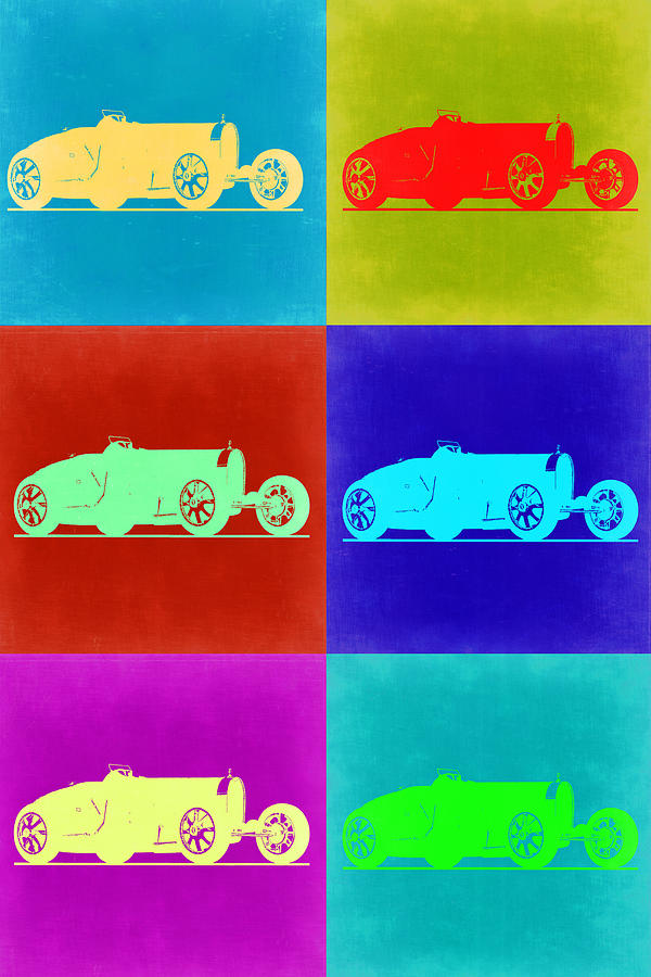 Painting - Bugatti Type 35 R Pop Art 2 by Naxart Studio