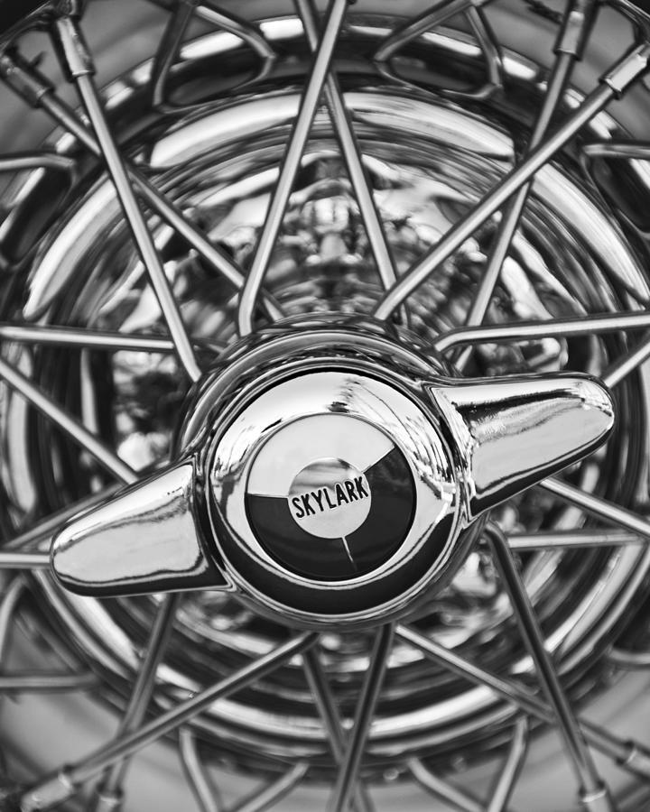 Buick Skylark Wheel Black And White Photograph