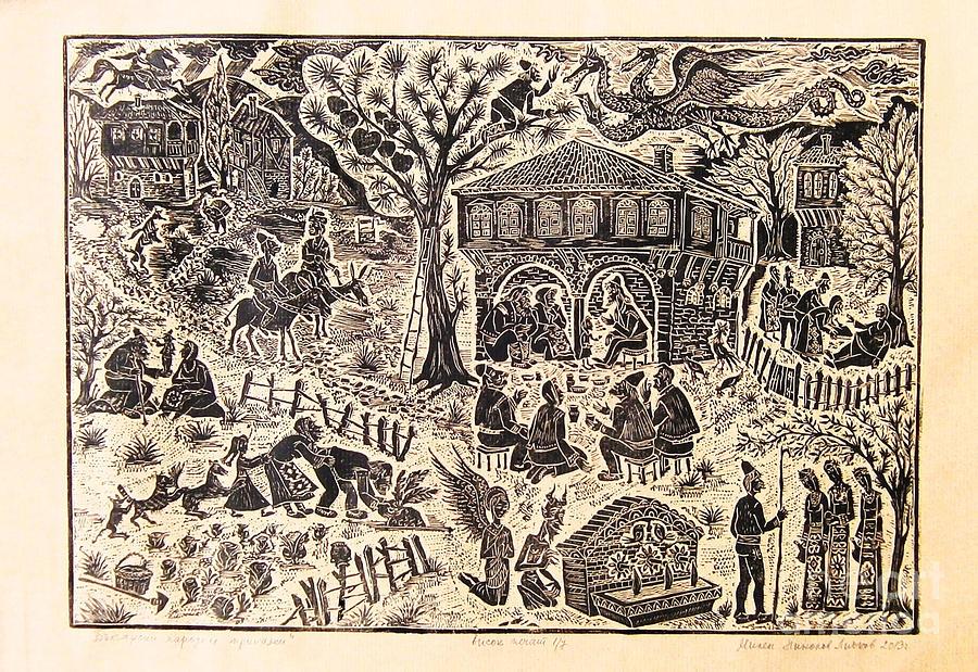 Linocut Drawing - Bulgarian Folk Tales by Milen Litchkov