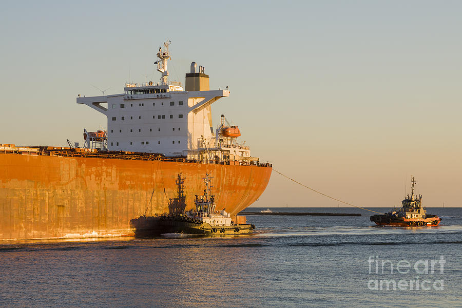 Bulk Carrier Being Guided By Tugs Close Up On Bridge Photograph  - Bulk Carrier Being Guided By Tugs Close Up On Bridge Fine Art Print