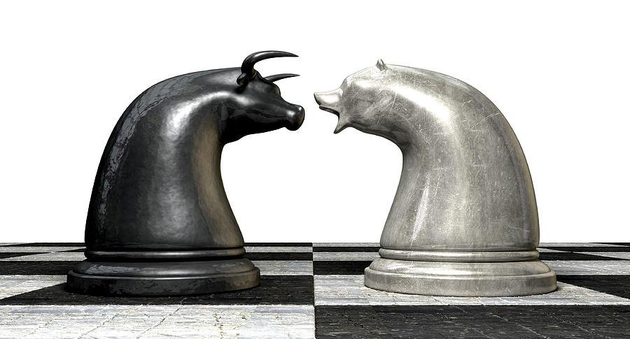 Bull And Bear Market Trend Chess Pieces Digital Art