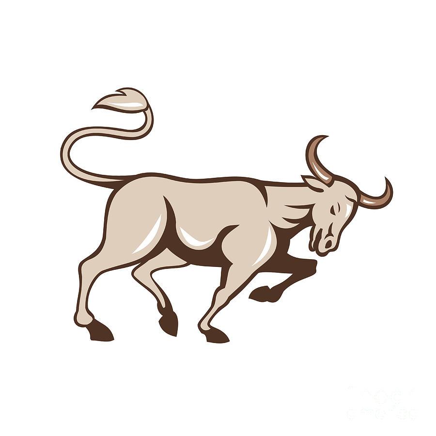 Bull Charging Side Cartoon Digital Art