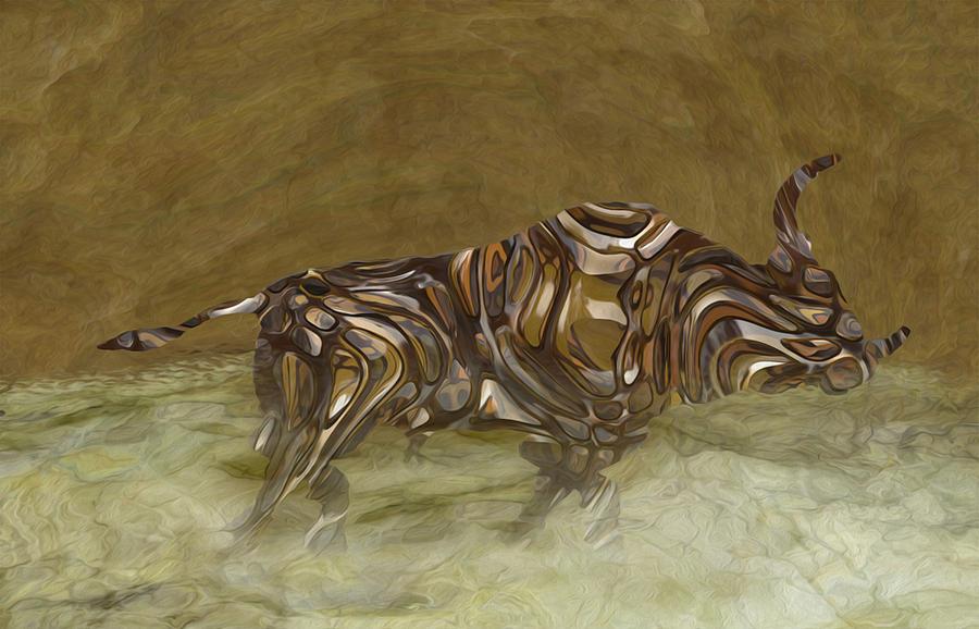 Photo Painting - Bull by Jack Zulli