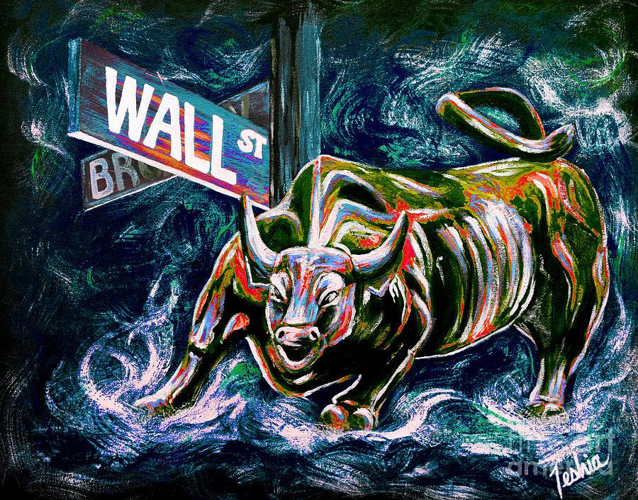 Wall Street Painting - Bull Market Night by Teshia Art