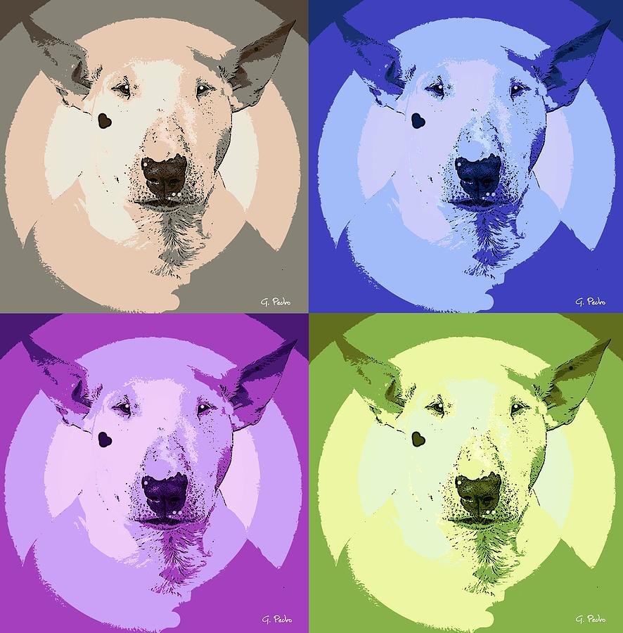 Dog Painting - Bull Terrier Pop Art by George Pedro