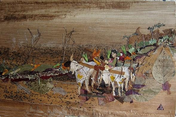 Bullock Cart On Cross Country Road  Mixed Media