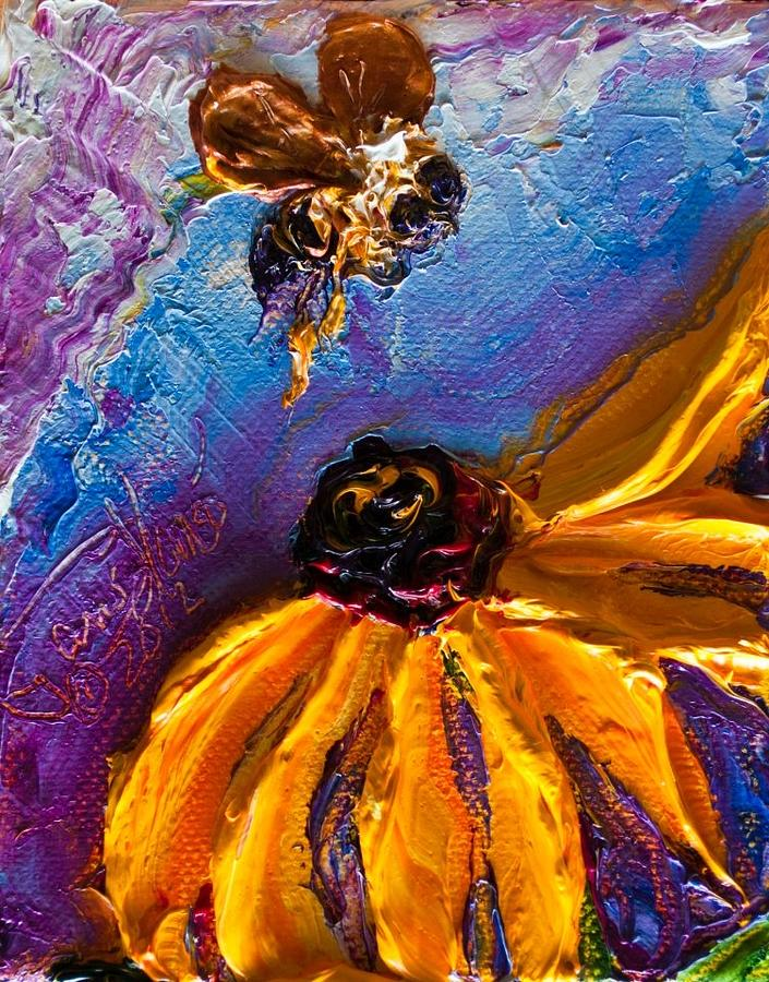 Bumble Bee Paintings Painting - Bumble Bee And Yellow Flower II by Paris Wyatt Llanso