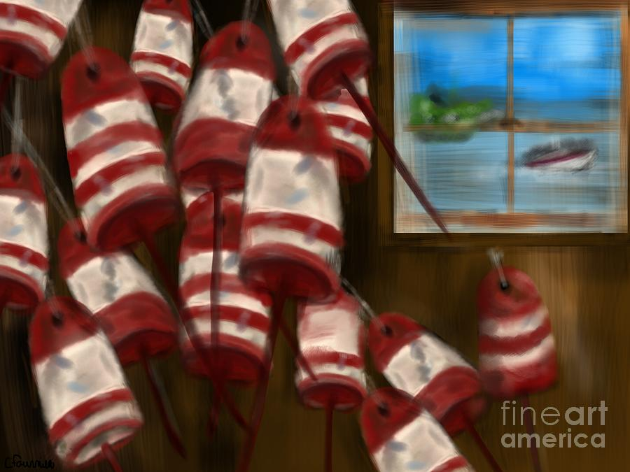 Boating Digital Art - Buoys With A View      by Christine Fournier