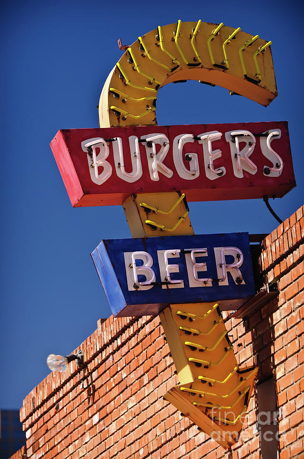 Burgers And Beer Photograph  - Burgers And Beer Fine Art Print