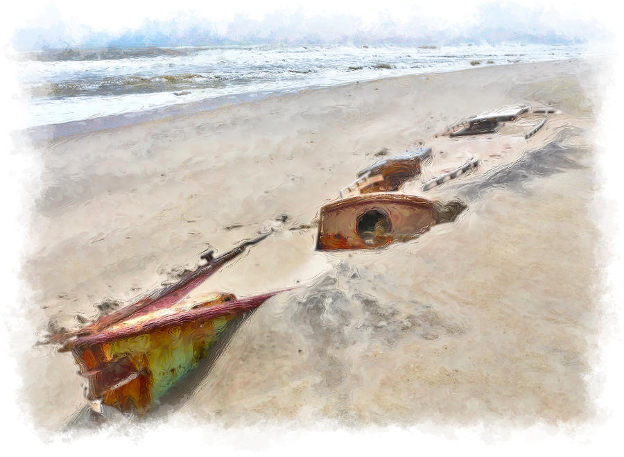 Buried Treasure - Shipwreck On The Outer Banks II Painting  - Buried Treasure - Shipwreck On The Outer Banks II Fine Art Print