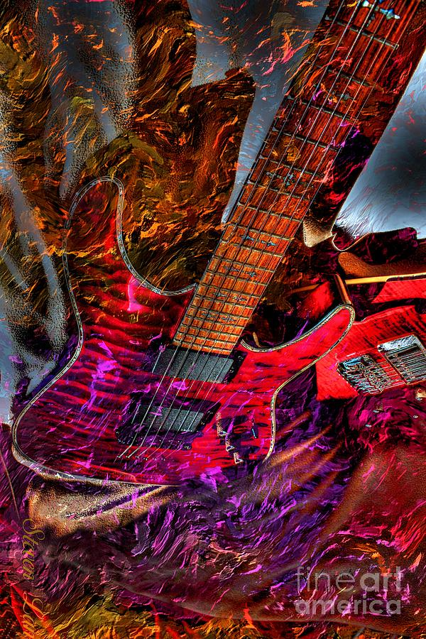 Burnin It Up Digital Guitar Art By Steven Langston Photograph  - Burnin It Up Digital Guitar Art By Steven Langston Fine Art Print