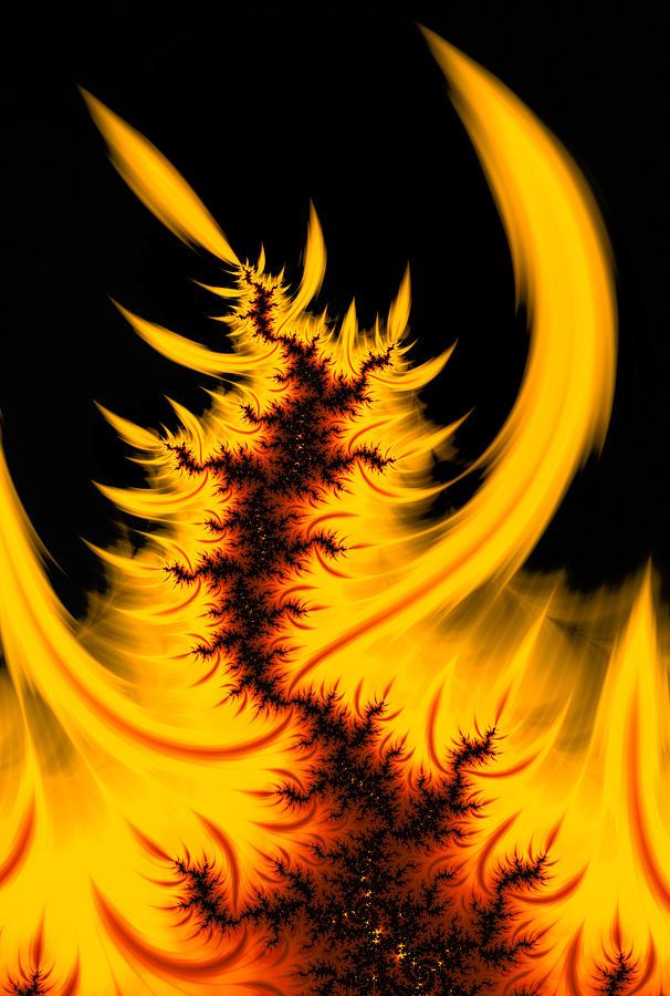 Burning Fractal Fire Warm Orange Flames Black Background Digital Art
