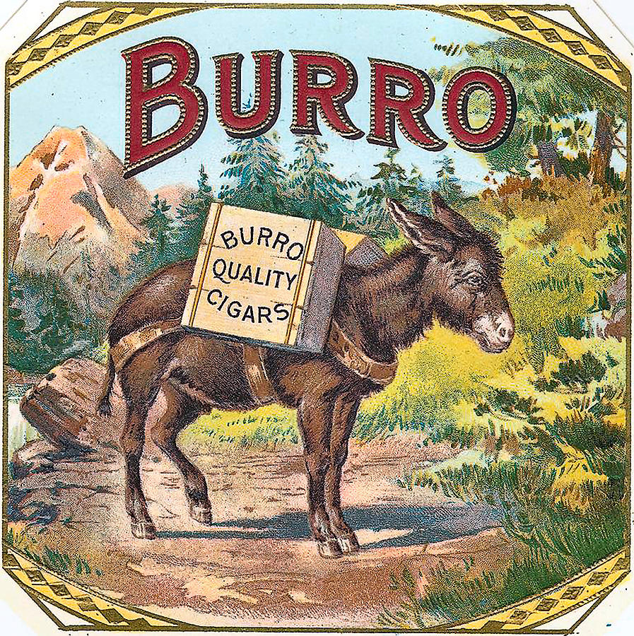Burro Quality Of Cigars Label Digital Art  - Burro Quality Of Cigars Label Fine Art Print