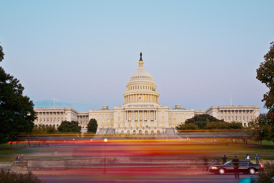 Bus Blur And U.s.capitol Building Photograph