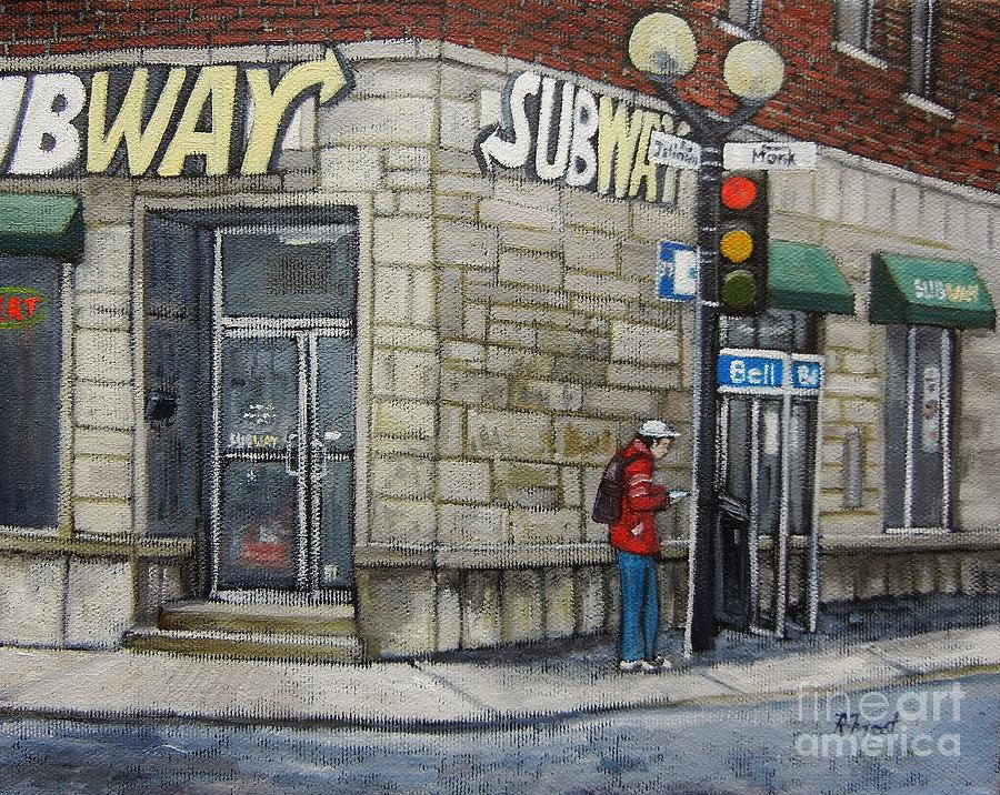 Bus Stop On Monk Painting  - Bus Stop On Monk Fine Art Print
