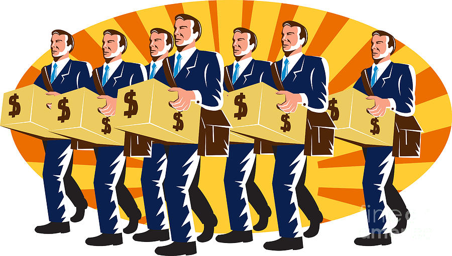 Businessman Banker Worker Carry Money Box Retro Digital Art