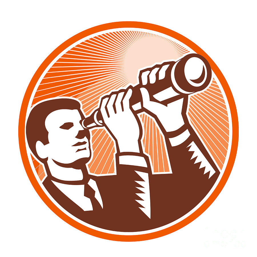 Businessman Digital Art - Businessman Holding Looking Telescope Woodcut by Aloysius Patrimonio