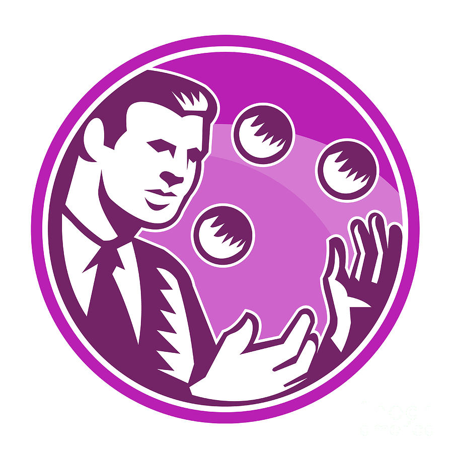 Businessman Juggler Juggling Balls Retro Digital Art