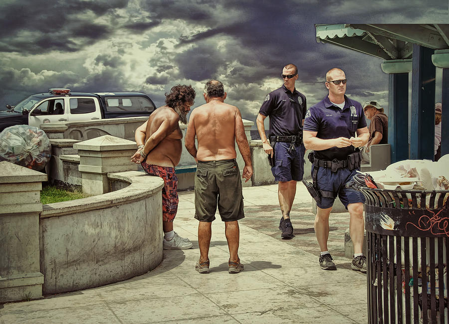 Police Photograph - Busted On The Boardwalk .... by Bob Kramer