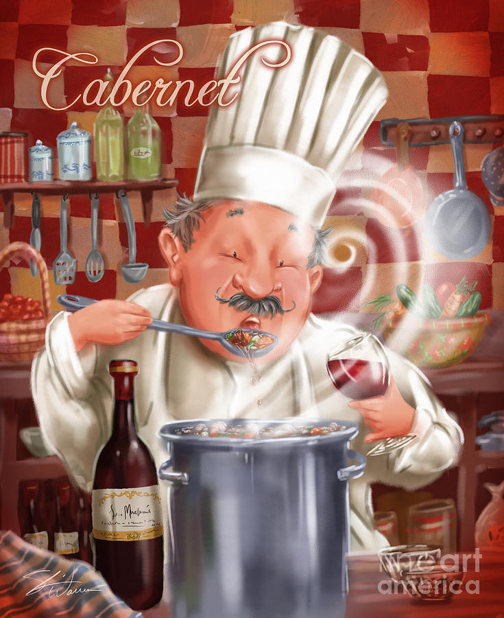 Busy Chef With Cabernet Mixed Media  - Busy Chef With Cabernet Fine Art Print