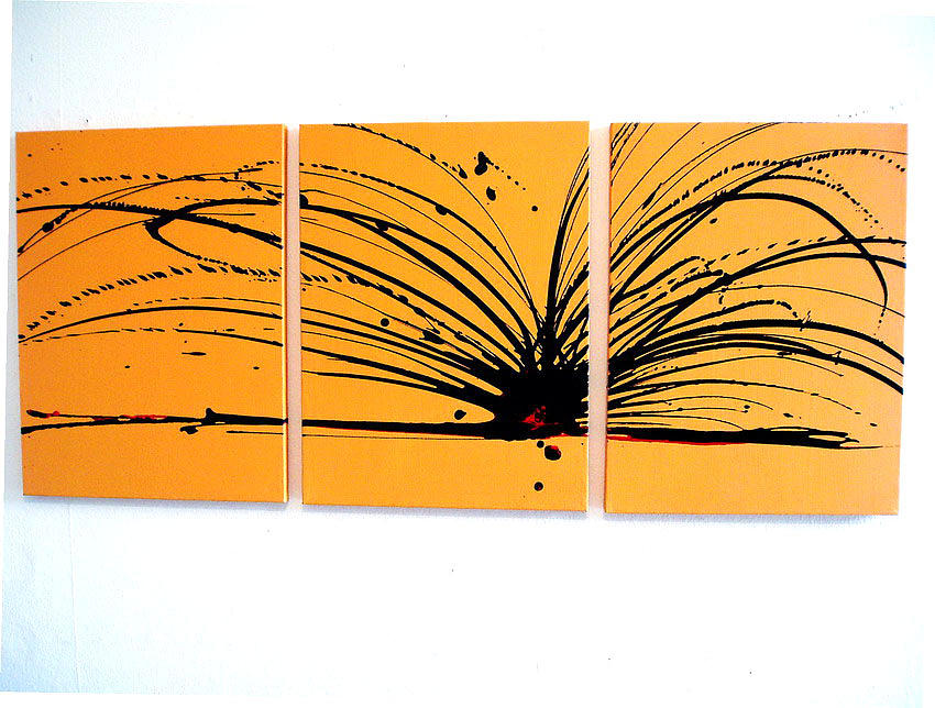 Buttercup Chaos Art Triptych Acrylic Large Wall Art Painting By Stuart