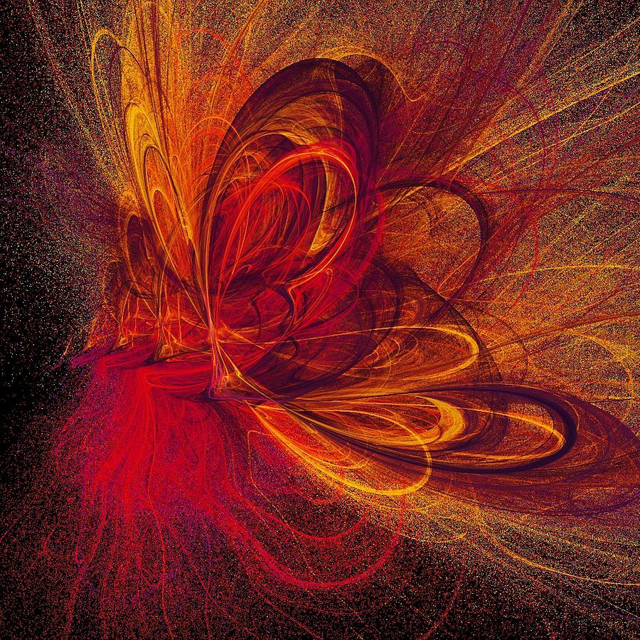 Abstract Butterfly Prints Digital Art - Butterfire by Sharon Lisa Clarke