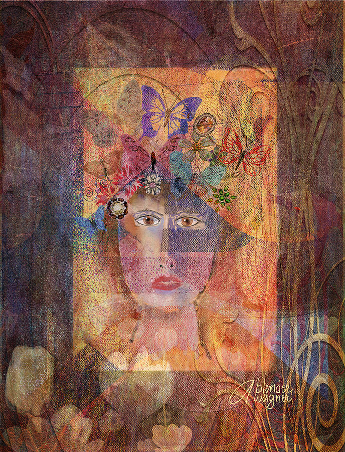 Butterflies In Her Hair Digital Art  - Butterflies In Her Hair Fine Art Print