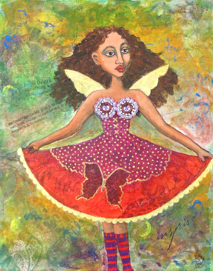 Butterfly Dress Mixed Media  - Butterfly Dress Fine Art Print