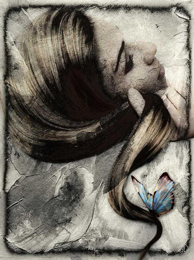 Butterfly In Her Hair Digital Art  - Butterfly In Her Hair Fine Art Print