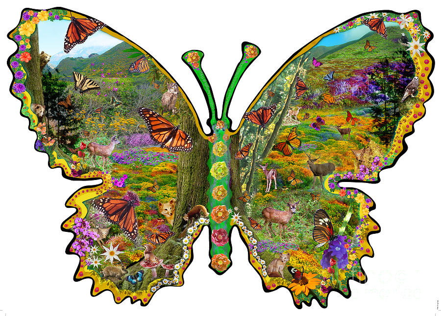 Butterfly Meadow Green Digital Art