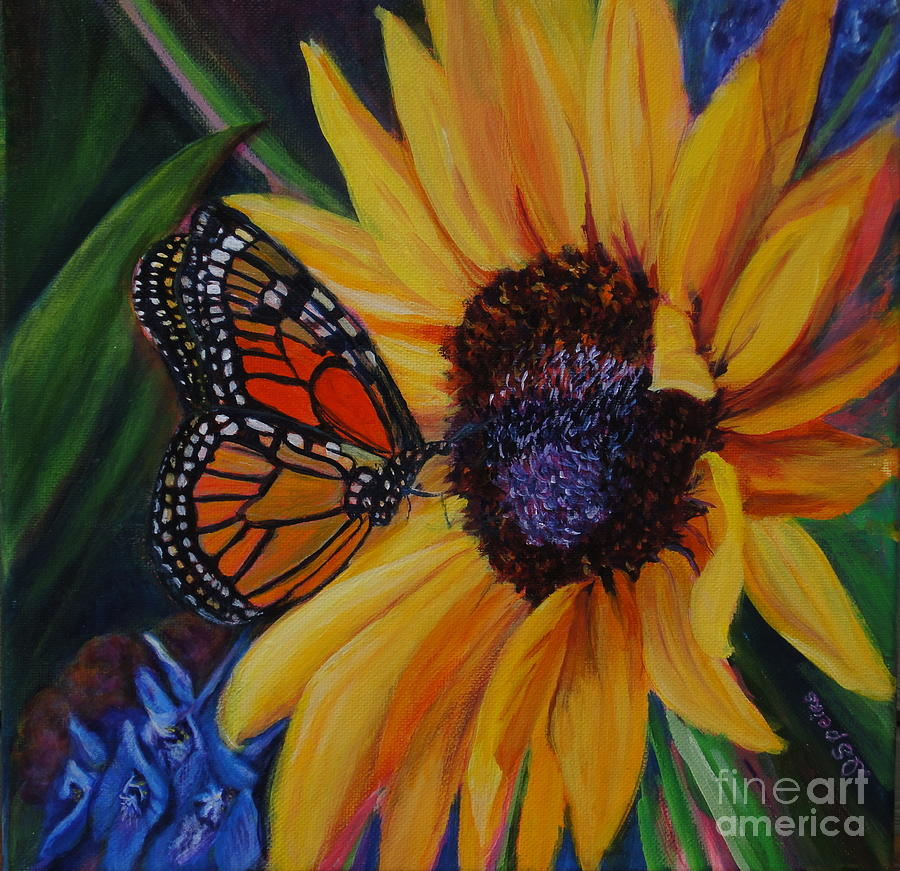 Sunflower Painting - Butterfly On Sunflower by Diane Speirs