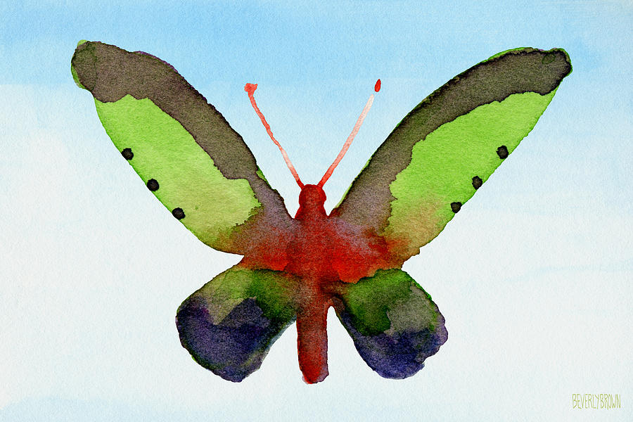 Butterfly Purple And Green Watercolor Art Print Painting