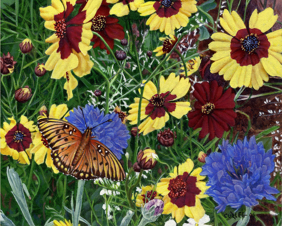 Butterfly Wildflowers Garden Oil Painting Floral Green Blue Orange-2 Painting