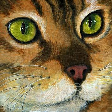 Cat Portrait Painting - Butterscotch - Yellow Cat by Linda Apple
